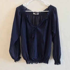 Love Stitch Navy Blue Sheer Smocked Blouse Small